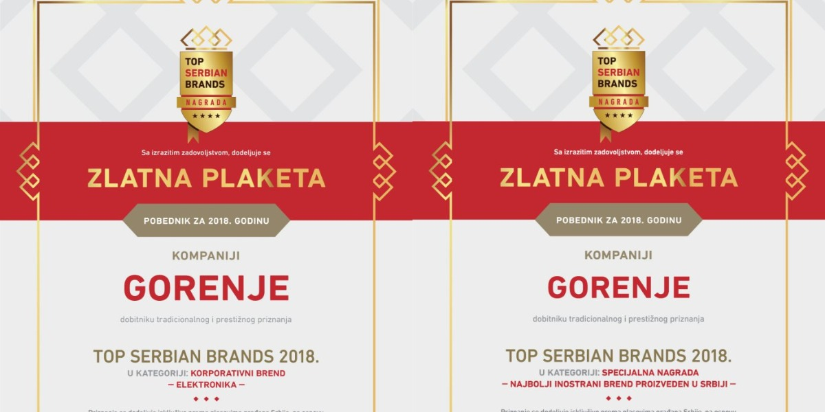 Double Top Brand Award for Gorenje